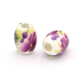 Packet 10 x White/Violet Porcelain 8 x 10mm Oval Beads HA27360