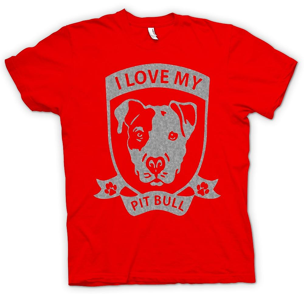 Mens T-shirt - I Love My Pitbull