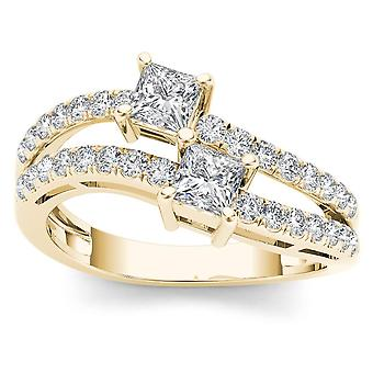 IGI CERTIFIED 14k Yellow Gold 1ct TDW Diamond Two-Stone Engagement Ring  (I-J, I2)