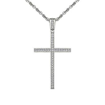 IGI Certified S925 Sterling Silver 0.15Ct TDW Diamond Cross Pendant Necklace