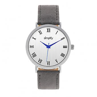 Simplify The 2900 Leather-Band Watch - Silver/Charcoal