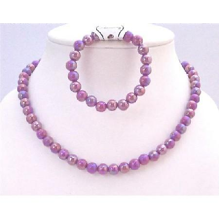 Girls Jewelry At Affordable Price Shinny Purple Necklace & Bracelet