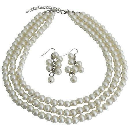 Beautiful Designed Jewelry Ivory Pearl Wedding Bridal Bridesmaid Three Strand Set