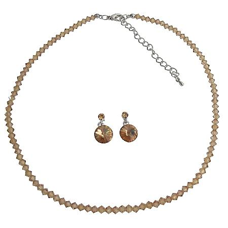 Champagne Color in Crystal Colorado Crystal Bridesmaid Jewelry Set