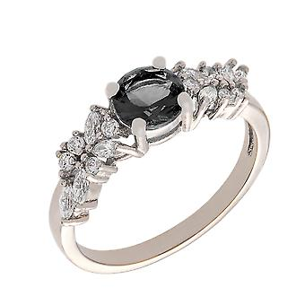 Bertha Juliet Collection Women's 18k White Gold Plated Black Cluster Fashion Ring Size 9