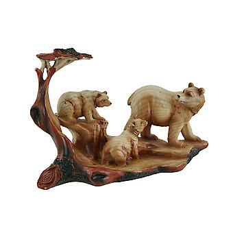 Mamãe urso e filhotes madeira entalhada olham estátua de resina