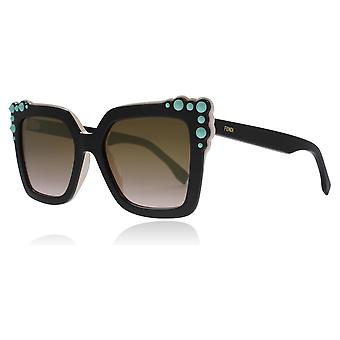 Fendi FF0260/S 3H2 Black / Pink FF0260/S Square Sunglasses Lens Category 2 Lens Mirrored Size 52mm