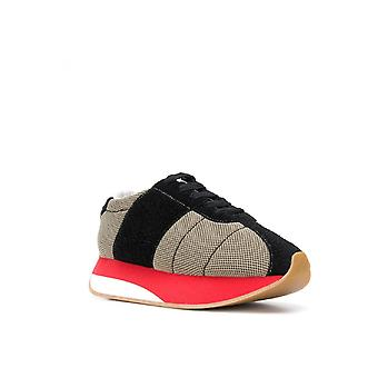 Marni Woman sneakers in beige fabric with high red rubber sole