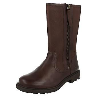 Girls Clarks Boots Ines Rain Brown Size 8 G