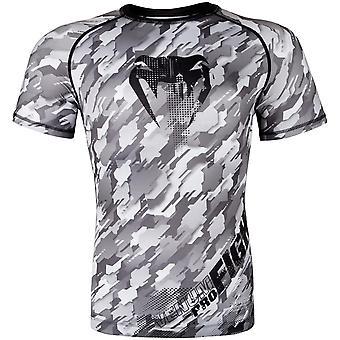 Venum Mens Tecmo Short Sleeve Rashguard Kompression Shirt - schwarz/grau