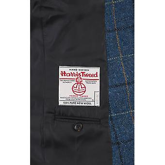 Harris Tweed mężczyźni niebieski/czarny wyboru Tweed marynarka Regular Fit 100% wełna