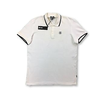 Just Cavalli polo in white with black tipping