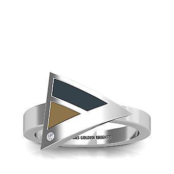 Vegas gyldne riddere-Vegas gyldne riddere graveret diamant geometrisk ring i sort og lys brun