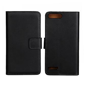 Wallet cover Huawei G6, genuine leather, black