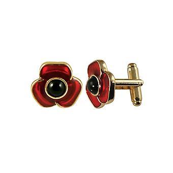 Colección Eterna Moda Rojo Esmalte Poppy Oro Tone Cufflinks