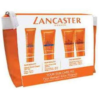 Lancaster Sun Care Giftset 50ml Silky Fluid Milk SPF15 + 30ml Sun Beauty Velvet Face Cream SPF30 + 2 x 50ml After Sun Tan Maximizer + Pouch