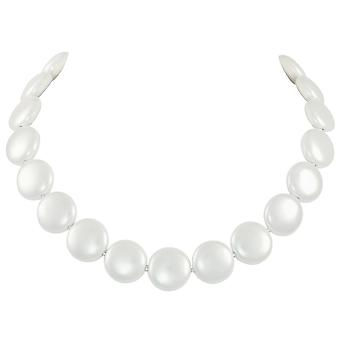 Eternal Collection Bloomsbury White Shell Coin Pearl Silver Tone Statement Necklace