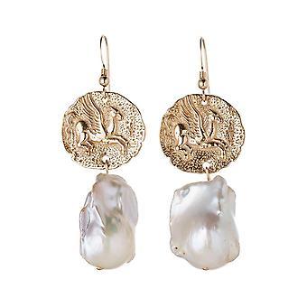 Gemshine Ohrringe Münzen Pegasus Pferd 925 Silber oder vergoldet mit Barock Perlen