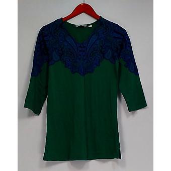 Isaac Mizrahi Live! Top stampato 3/4 Sleeve V-Collo w/ Lati Slits Verde A257238