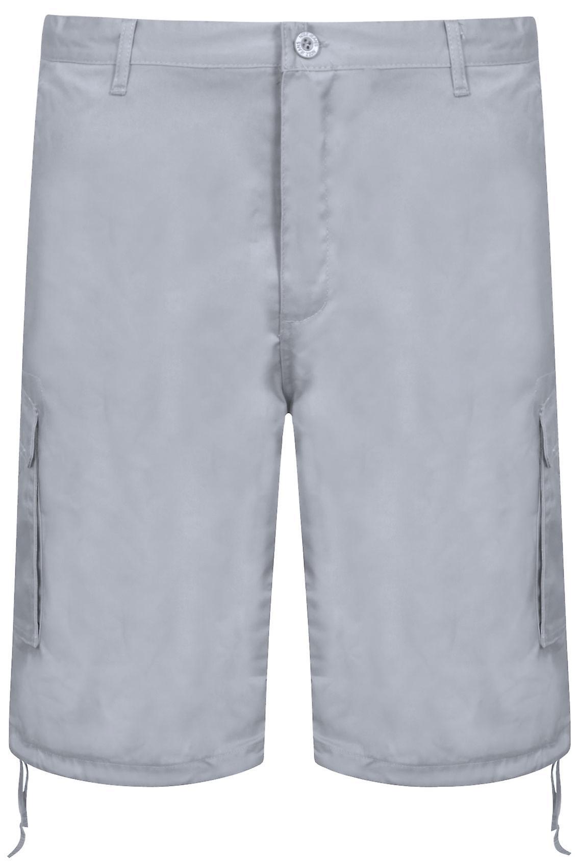 NOIZ Grey Cotton Cargo Shorts With Pockets