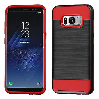 ASMYNA Black/Red Brushed Hybrid Case for Galaxy S8 Plus