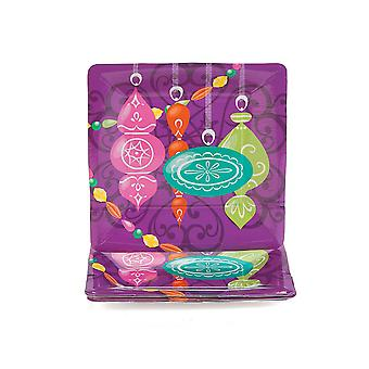 SALE - 8 Jewel Tone Bauble Square Christmas Paper Party Plates