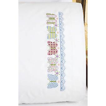 Butterfly Patchwork Quilt Pillowcase Pair Stamped Cross Stit 20