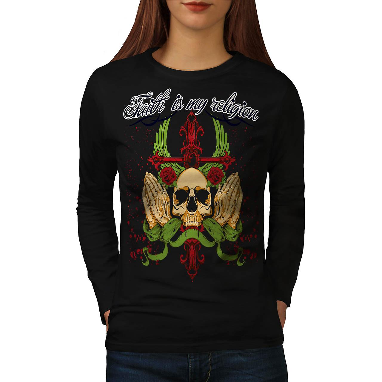 Faith My Religion Skull Dead Head Women Black Long Sleeve T-shirt | Wellcoda