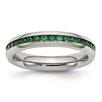Stainless Steel Polished 4mm May Green Cubic Zirconia Ring - Ring Size: 6 to 9