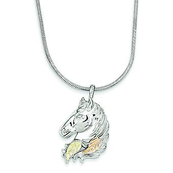 Sterling Silver and 12k Large Horsehead Necklace - 20 Inch