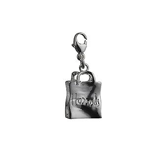 Silver 17x12mm Harrod's Bag Charm with a lobster catch
