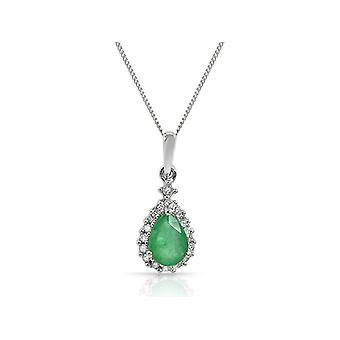 9ct White Gold 0.59ct Emerald & Diamond Pear Cluster Pendant on Chain