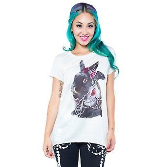 Iron Fist Womens Nude Velveteen Fancy Rabbit Tshirt Jewels Bow Animal