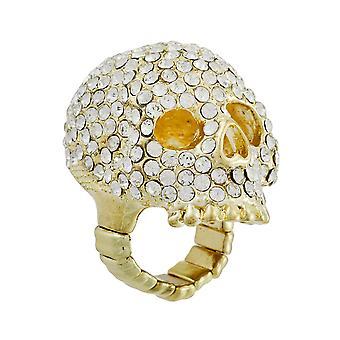 Sparkling Gold Tone Rhinestone Encrusted Stretch Ring