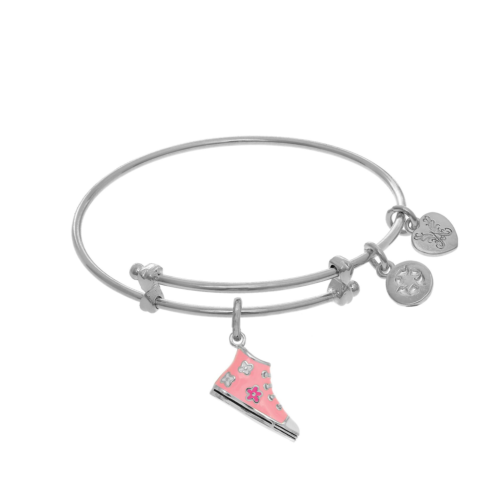 High Top Pink Enamel Bangle Shoe Charm Expandable Tween Bangle Enamel Bracelet d48544