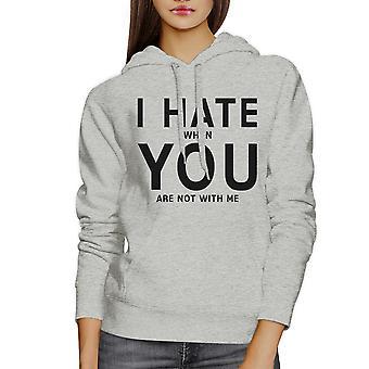 Ik haat u Unisex grijs grafische Hoodie cadeau idee voor Valentijnsdag