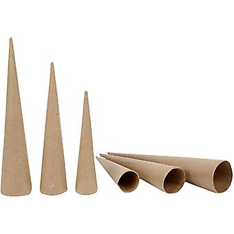 3 Assorted Paper Mache Cones to Decorate 20, 25 & 30cm Tall | Papier Mache Boxes