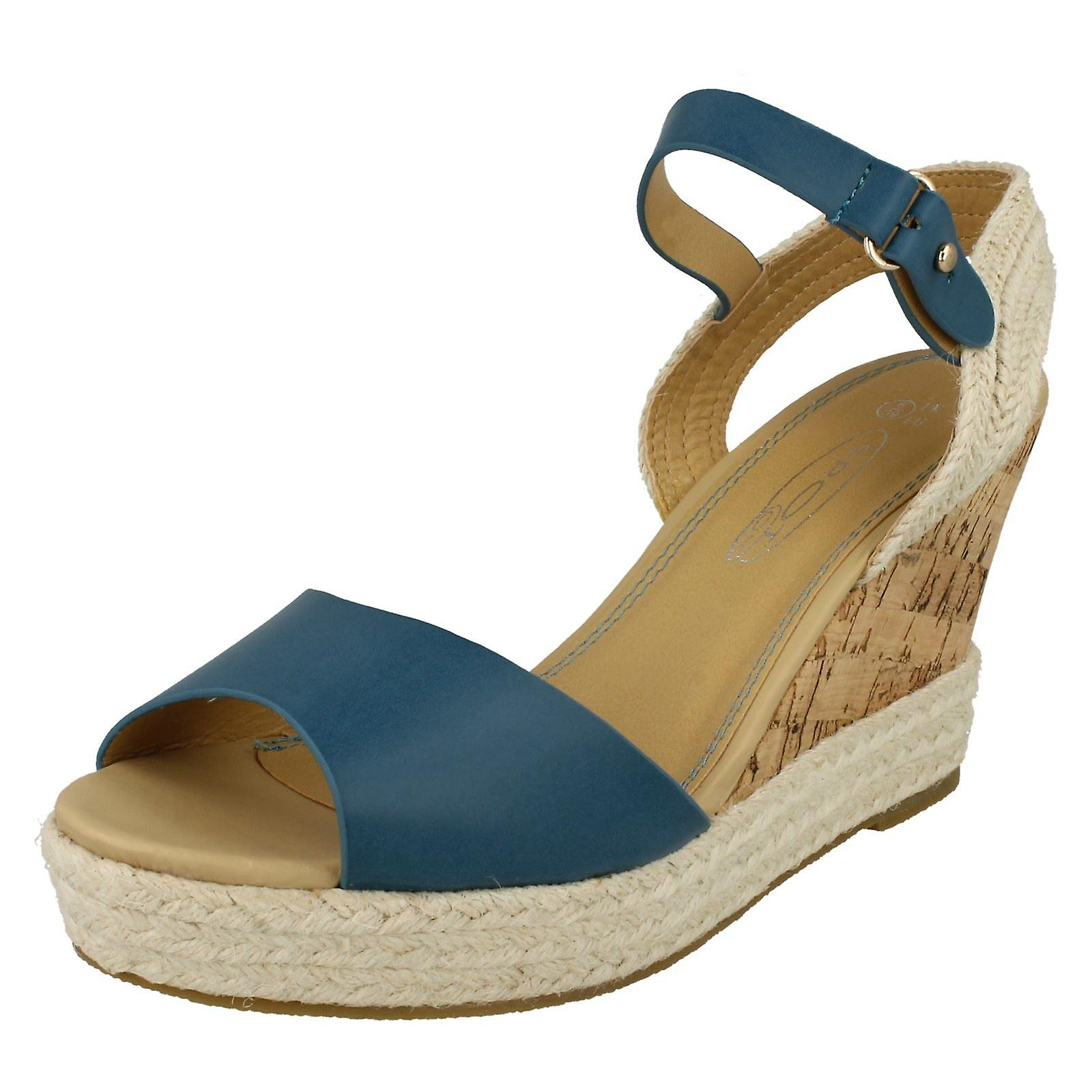 Ladies Sling Back Espadrille High Sandal Wedged O8OqU7wA