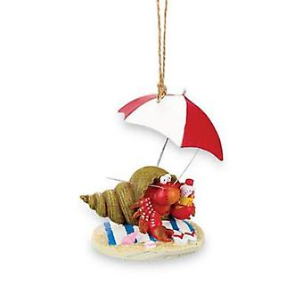 Beachy Hermit Crab Christmas Holiday Ornament