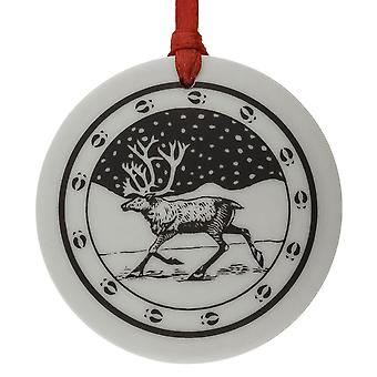 Handmade Caribou Totem Round Shaped Porcelain Christmas Ornament / Keepsake