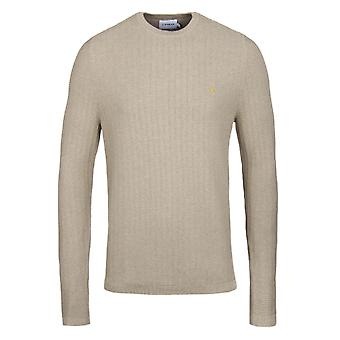 Farah Hastings Sand Ribbed Knit Crew Neck Sweater