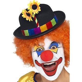 Clownhut Melone Filz bunt Clownshut Clown Mütze Hut Colwnskostüm