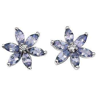 9 CT witgoud Tanzanite en Diamond harten Earring met