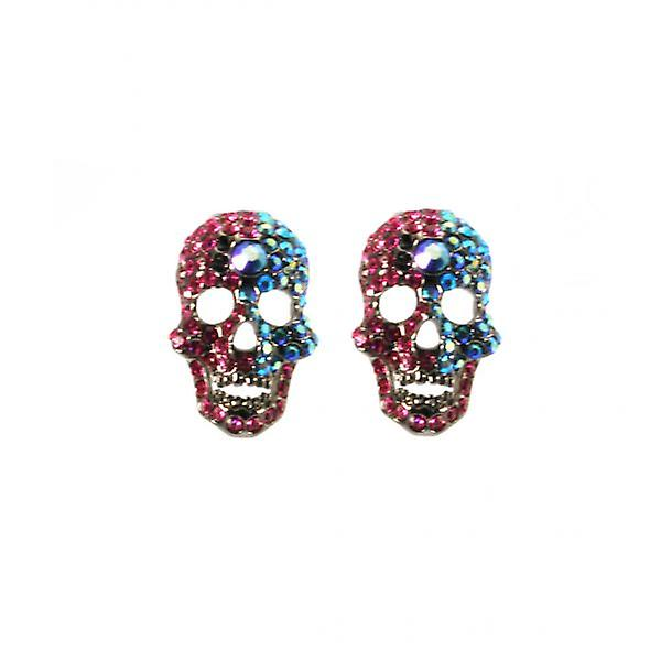 W.A.T Pink And Teal Swarovski Crystal Skull Shaped Fashion Earrings