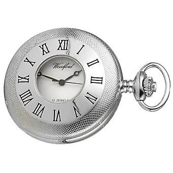Woodford Chrome Forgyldt motor viste halv Hunter mekanisk Pocket Watch - sølv