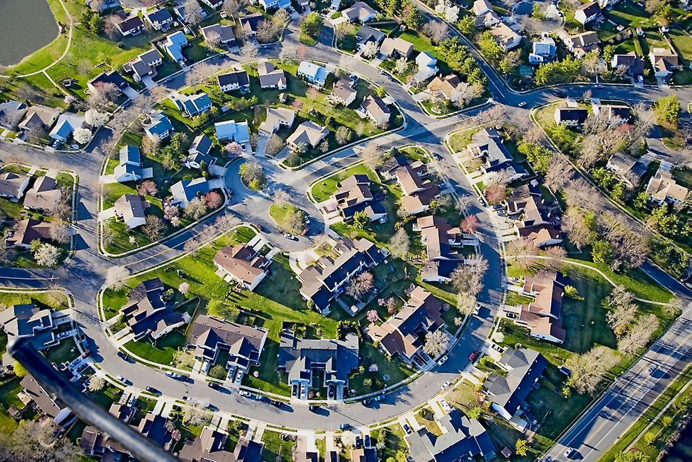 Aerial pattern of residential homes in circle outside of Philadelphia Pennsylvania nouveau Jersey Poster Print by Panoramic Images (36 x 24)