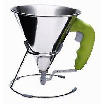 De Buyer Green Kwik Mini Piston funnel Inox Dispenser With 0.8 L, With Support