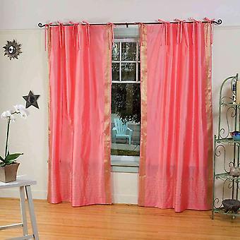 Rosa Krawatte Top schiere Sari Vorhang / drapieren / Panel - paar