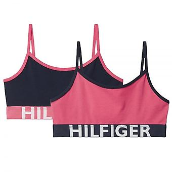 Tommy Hilfiger Girls 2 Pack Bold Bralette, Rouge Red / Navy Blazer, Medium