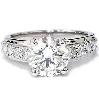 2ct diamant engagemang vigselring Set 14K vitt guld